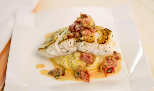 Pan seared florida grouper with smoked gouda grits and for Triple tail fish recipes